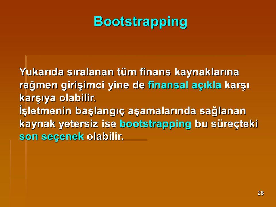 28 Bootstrapping Yukarıda sıralanan tüm finans kaynaklarına rağmen girişimci yine de finansal açıkla karşı karşıya olabilir. İşletmenin başlangıç aşam