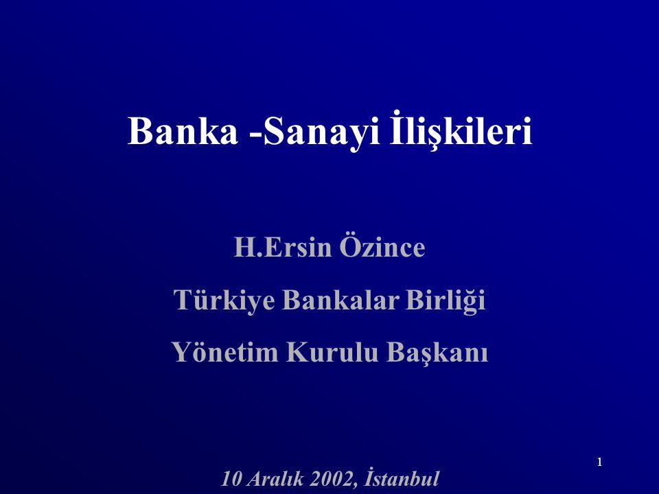 1 Banka -Sanayi İlişkileri H.Ersin Özince Türkiye Bankalar Birliği Yönetim Kurulu Başkanı 10 Aralık 2002, İstanbul