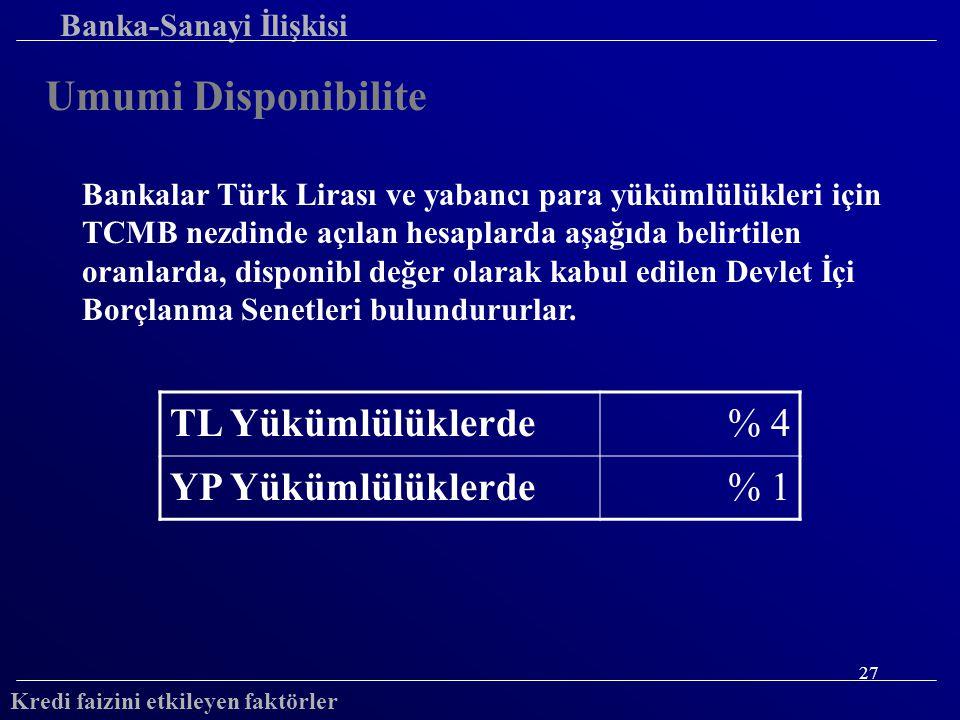 27 Banka-Sanayi İlişkisi Umumi Disponibilite Bankalar Türk Lirası ve yabancı para yükümlülükleri için TCMB nezdinde açılan hesaplarda aşağıda belirtilen oranlarda, disponibl değer olarak kabul edilen Devlet İçi Borçlanma Senetleri bulundururlar.