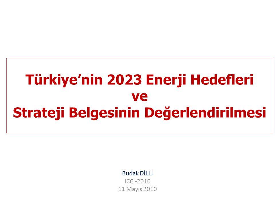 Türkiye'nin 2023 Enerji Hedefleri ve Strateji Belgesinin Değerlendirilmesi Budak DİLLİ ICCI-2010 11 Mayıs 2010