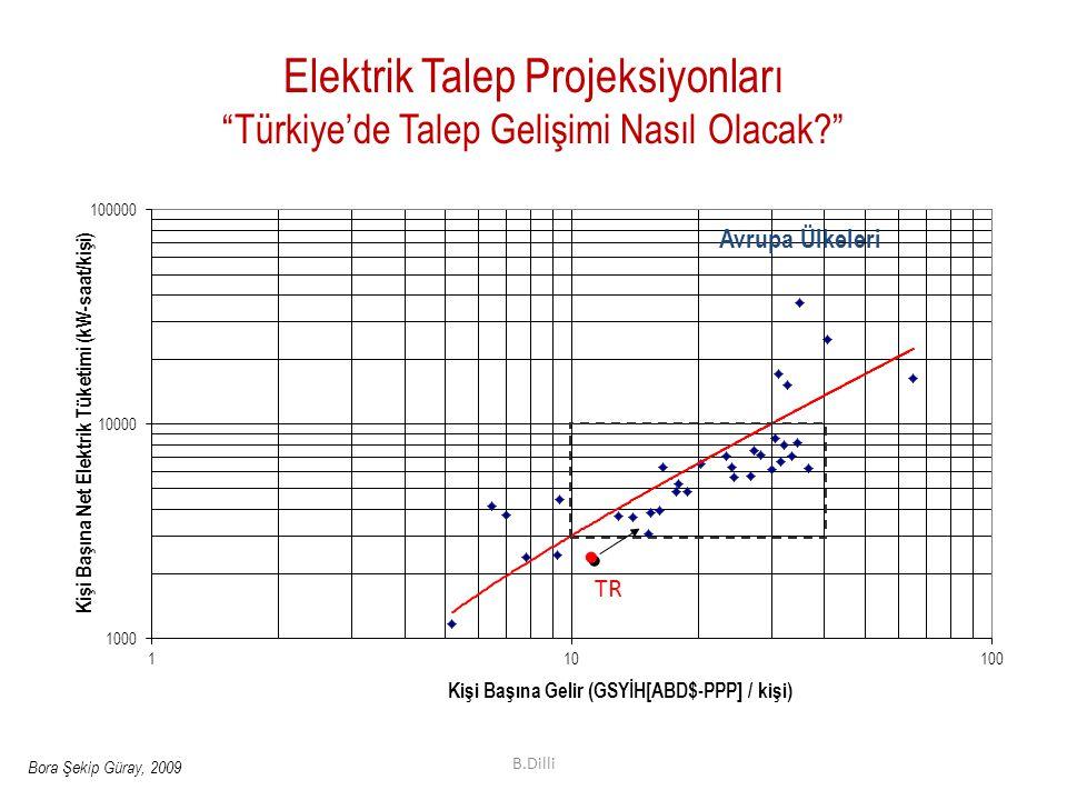 """Elektrik Talep Projeksiyonları """"Türkiye'de Talep Gelişimi Nasıl Olacak?"""" TR Bora Şekip Güray, 2009 Avrupa Ülkeleri B.Dilli"""