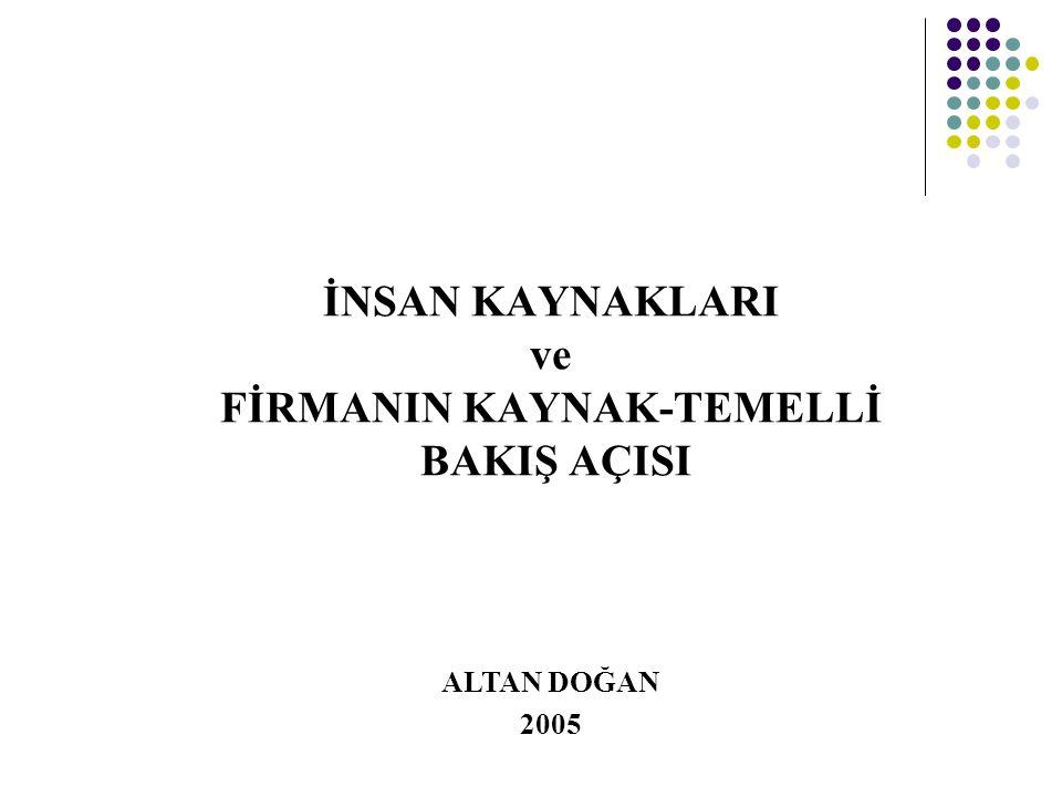 İNSAN KAYNAKLARI ve FİRMANIN KAYNAK-TEMELLİ BAKIŞ AÇISI ALTAN DOĞAN 2005