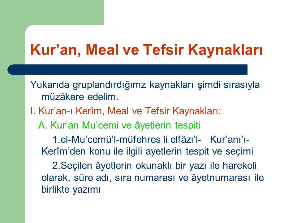 Kur'an, Meal ve Tefsir Kaynakları Yukarıda gruplandırdığımz kaynakları şimdi sırasıyla müzâkere edelim. I. Kur'an-ı Kerîm, Meal ve Tefsir Kaynakları: