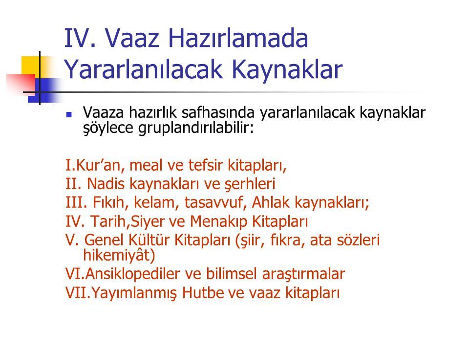 IV. Vaaz Hazırlamada Yararlanılacak Kaynaklar Vaaza hazırlık safhasında yararlanılacak kaynaklar şöylece gruplandırılabilir: I.Kur'an, meal ve tefsir