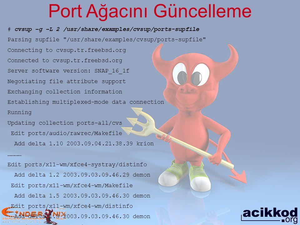 Portupgrade Daha önceden kurulan bir paketi güncellemek için kullanılır.