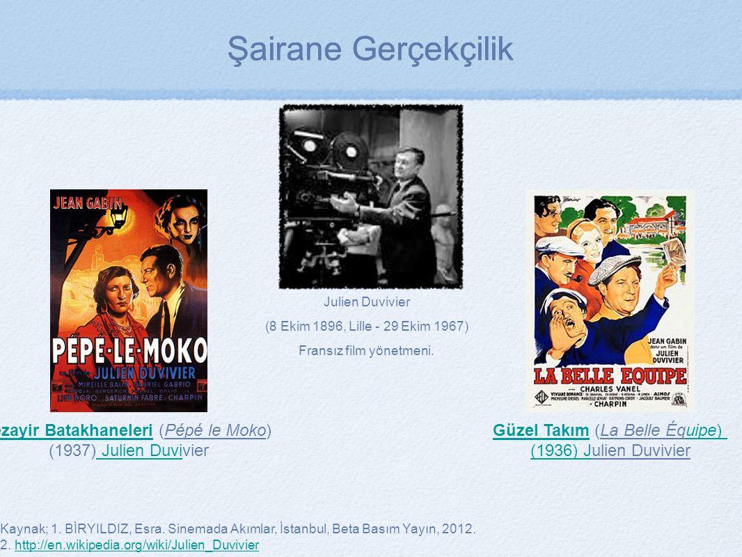 Kaynak; 1. BİRYILDIZ, Esra. Sinemada Akımlar, İstanbul, Beta Basım Yayın, 2012. 2. http://en.wikipedia.org/wiki/Julien_Duvivierhttp://en.wikipedia.org
