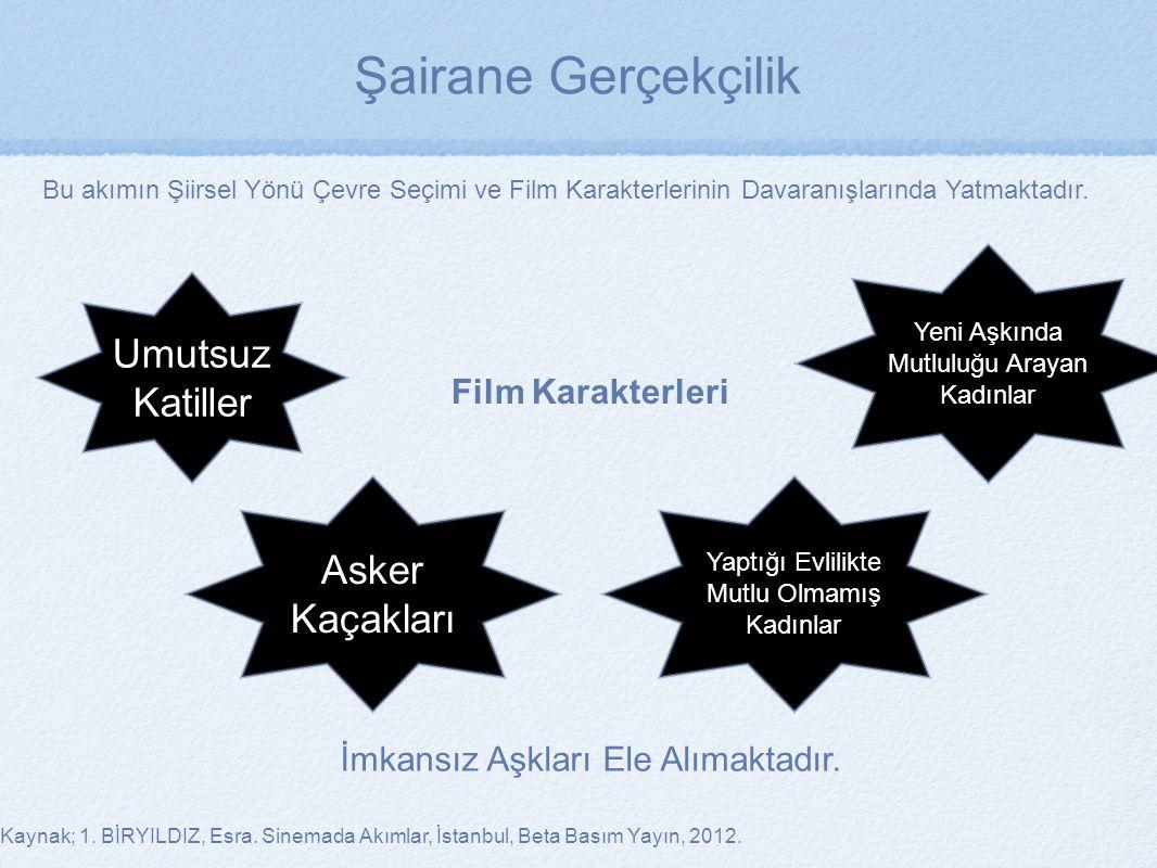 Kaynak; 1. BİRYILDIZ, Esra. Sinemada Akımlar, İstanbul, Beta Basım Yayın, 2012. Film Karakterleri Bu akımın Şiirsel Yönü Çevre Seçimi ve Film Karakter