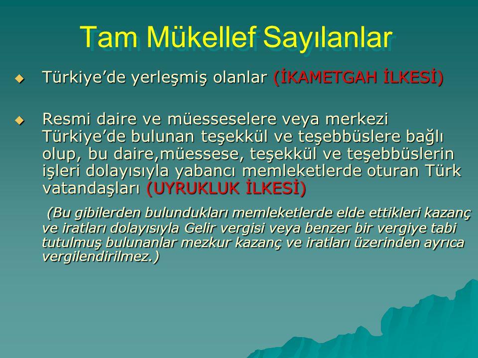 Tam Mükellef Sayılanlar Tam Mükellef Sayılanlar  Türkiye'de yerleşmiş olanlar (İKAMETGAH İLKESİ)  Resmi daire ve müesseselere veya merkezi Türkiye'd