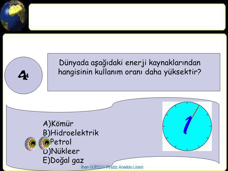 4 Dünyada aşağıdaki enerji kaynaklarından hangisinin kullanım oranı daha yüksektir? A)Kömür B)Hidroelektrik C)Petrol D)Nükleer E)Doğal gaz
