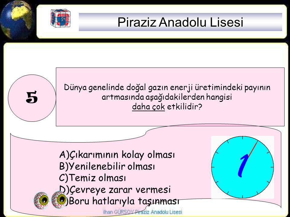 5 Dünya genelinde doğal gazın enerji üretimindeki payının artmasında aşağıdakilerden hangisi daha çok etkilidir? A)Çıkarımının kolay olması B)Yenilene