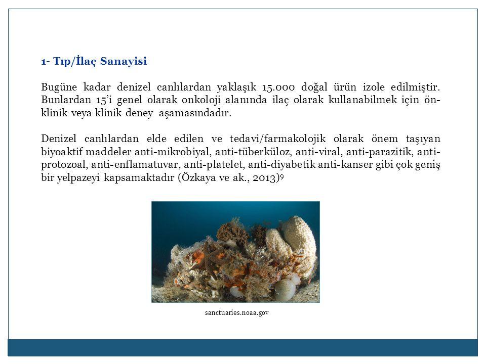1- Tıp/İlaç Sanayisi Bugüne kadar denizel canlılardan yaklaşık 15.000 doğal ürün izole edilmiştir. Bunlardan 15'i genel olarak onkoloji alanında ilaç