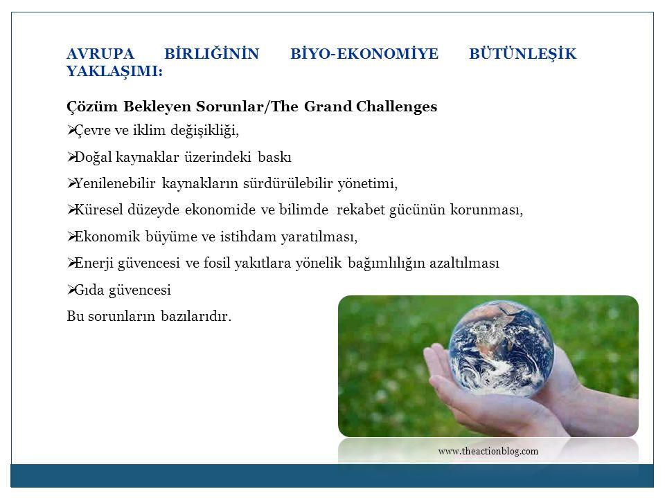 AVRUPA BİRLIĞİNİN BİYO-EKONOMİYE BÜTÜNLEŞİK YAKLAŞIMI: Çözüm Bekleyen Sorunlar/The Grand Challenges  Çevre ve iklim değişikliği,  Doğal kaynaklar üzerindeki baskı  Yenilenebilir kaynakların sürdürülebilir yönetimi,  Küresel düzeyde ekonomide ve bilimde rekabet gücünün korunması,  Ekonomik büyüme ve istihdam yaratılması,  Enerji güvencesi ve fosil yakıtlara yönelik bağımlılığın azaltılması  Gıda güvencesi Bu sorunların bazılarıdır.