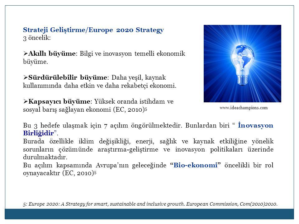 Strateji Geliştirme/Europe 2020 Strategy 3 öncelik:  Akıllı büyüme: Bilgi ve inovasyon temelli ekonomik büyüme.  Sürdürülebilir büyüme: Daha yeşil,