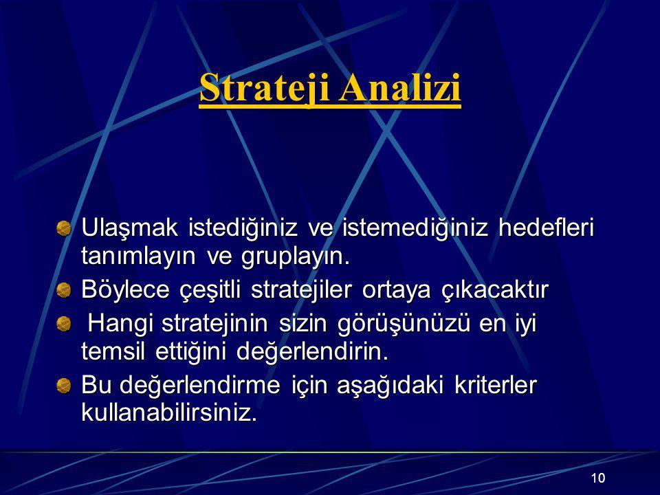 10 Strateji Analizi Ulaşmak istediğiniz ve istemediğiniz hedefleri tanımlayın ve gruplayın. Böylece çeşitli stratejiler ortaya çıkacaktır Hangi strate