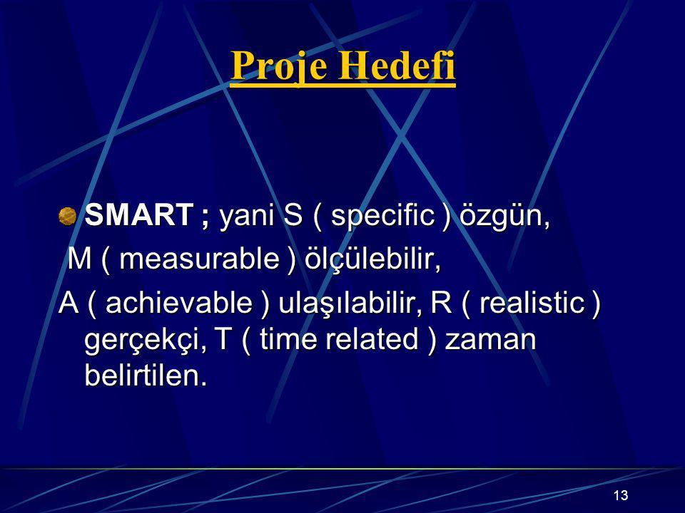 13 Proje Hedefi SMART ; yani S ( specific ) özgün, M ( measurable ) ölçülebilir, M ( measurable ) ölçülebilir, A ( achievable ) ulaşılabilir, R ( realistic ) gerçekçi, T ( time related ) zaman belirtilen.