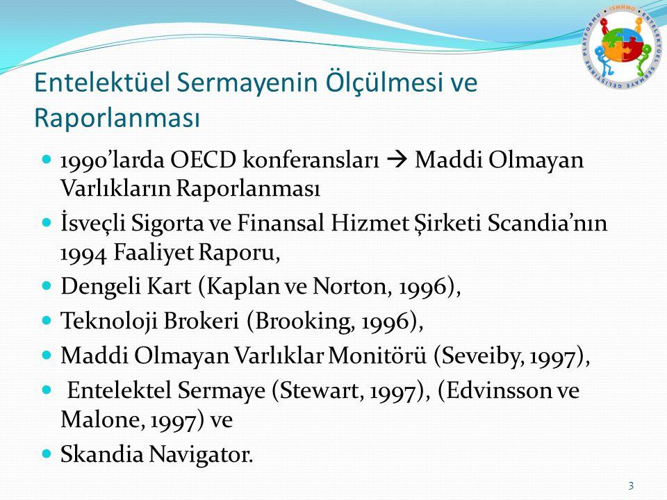 Entelektüel Sermayenin Ölçülmesi ve Raporlanması 1990'larda OECD konferansları  Maddi Olmayan Varlıkların Raporlanması İsveçli Sigorta ve Finansal Hizmet Şirketi Scandia'nın 1994 Faaliyet Raporu, Dengeli Kart (Kaplan ve Norton, 1996), Teknoloji Brokeri (Brooking, 1996), Maddi Olmayan Varlıklar Monitörü (Seveiby, 1997), Entelektel Sermaye (Stewart, 1997), (Edvinsson ve Malone, 1997) ve Skandia Navigator.
