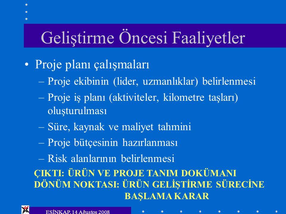 ESİNKAP, 14 Ağustos 2008 Geliştirme Öncesi Faaliyetler Proje planı çalışmaları –Proje ekibinin (lider, uzmanlıklar) belirlenmesi –Proje iş planı (akti