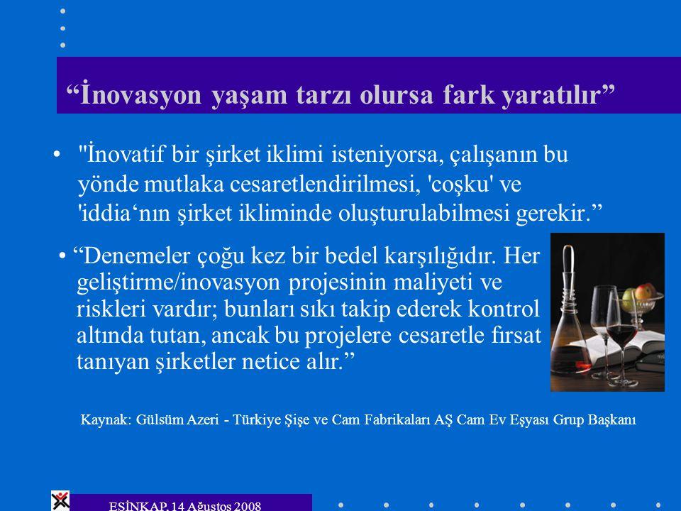 """ESİNKAP, 14 Ağustos 2008 """"İnovasyon yaşam tarzı olursa fark yaratılır"""""""