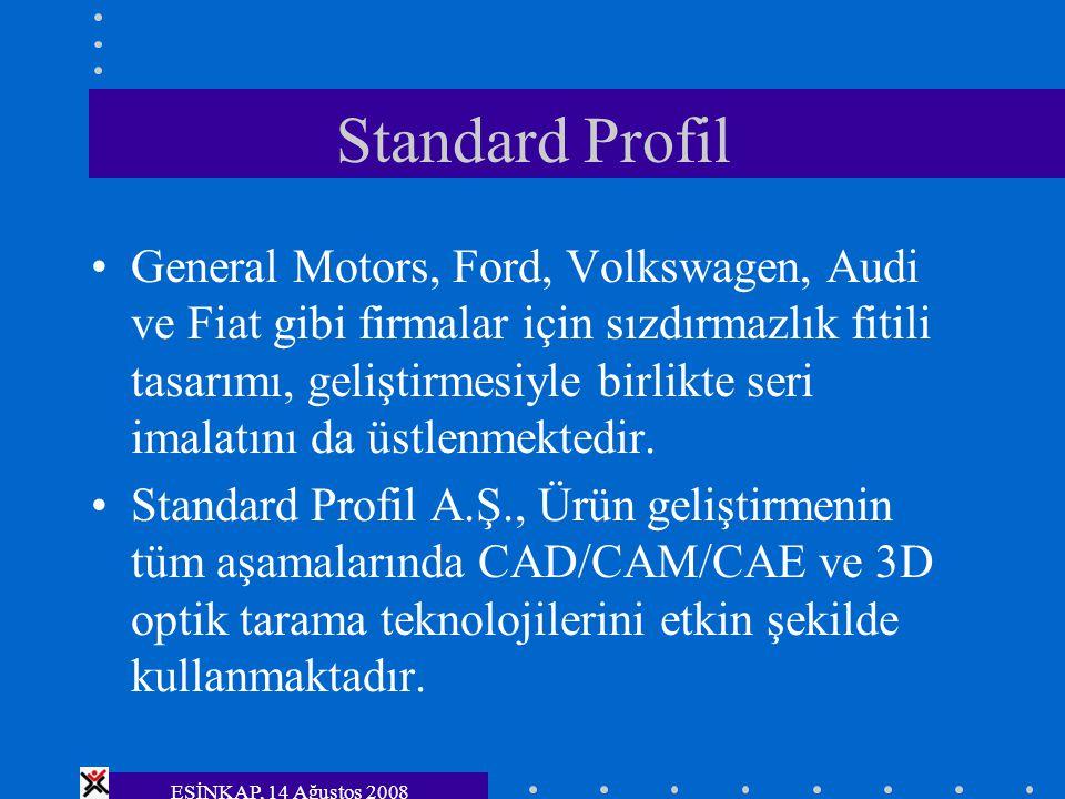 ESİNKAP, 14 Ağustos 2008 Standard Profil General Motors, Ford, Volkswagen, Audi ve Fiat gibi firmalar için sızdırmazlık fitili tasarımı, geliştirmesiy