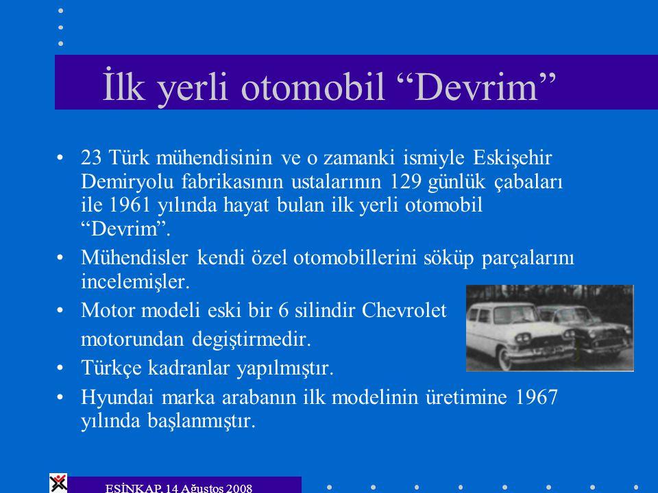 """ESİNKAP, 14 Ağustos 2008 İlk yerli otomobil """"Devrim"""" 23 Türk mühendisinin ve o zamanki ismiyle Eskişehir Demiryolu fabrikasının ustalarının 129 günlük"""