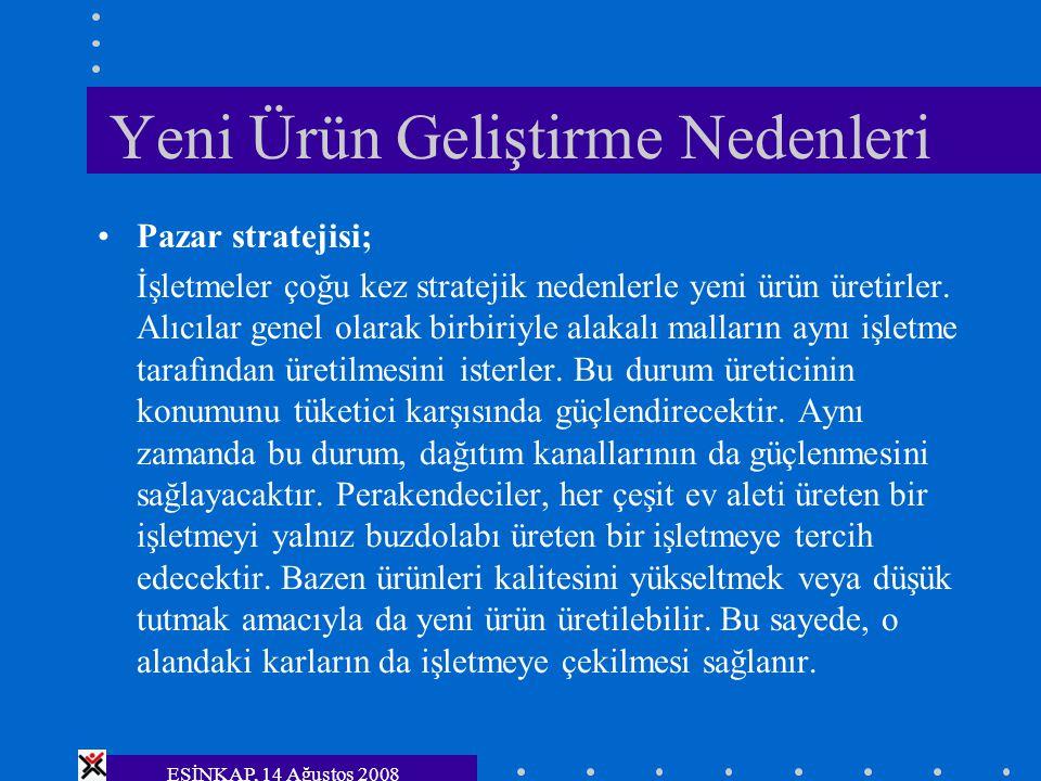 ESİNKAP, 14 Ağustos 2008 Yeni Ürün Geliştirme Nedenleri Pazar stratejisi; İşletmeler çoğu kez stratejik nedenlerle yeni ürün üretirler. Alıcılar genel