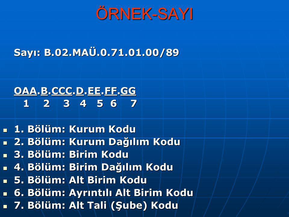 ÖRNEK-SAYI Sayı: B.02.MAÜ.0.71.01.00/89 OAA.B.CCC.D.EE.FF.GG 1 2 3 4 5 6 7 1 2 3 4 5 6 7 1. Bölüm: Kurum Kodu 1. Bölüm: Kurum Kodu 2. Bölüm: Kurum Dağ