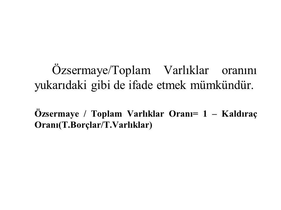 Özsermaye/Toplam Varlıklar oranını yukarıdaki gibi de ifade etmek mümkündür. Özsermaye / Toplam Varlıklar Oranı= 1 – Kaldıraç Oranı(T.Borçlar/T.Varlık
