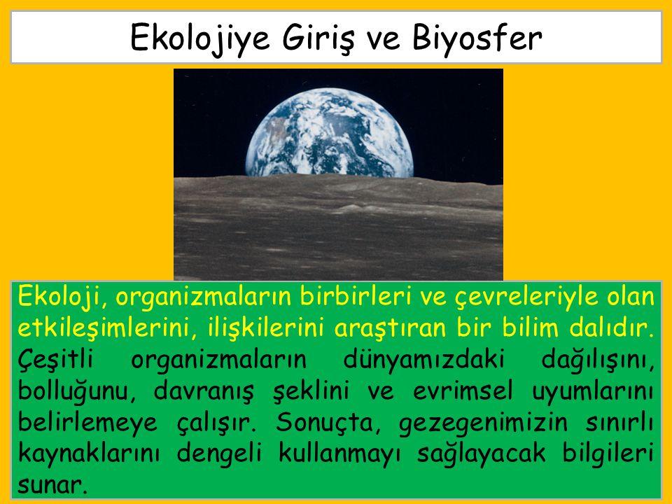 Ekolojiye Giriş ve Biyosfer Ekoloji, organizmaların birbirleri ve çevreleriyle olan etkileşimlerini, ilişkilerini araştıran bir bilim dalıdır. Çeşitli