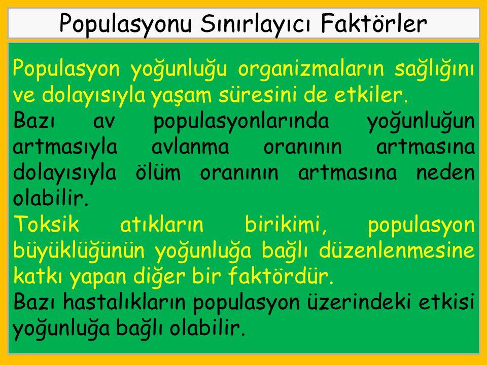 Populasyonu Sınırlayıcı Faktörler Populasyon yoğunluğu organizmaların sağlığını ve dolayısıyla yaşam süresini de etkiler. Bazı av populasyonlarında yo