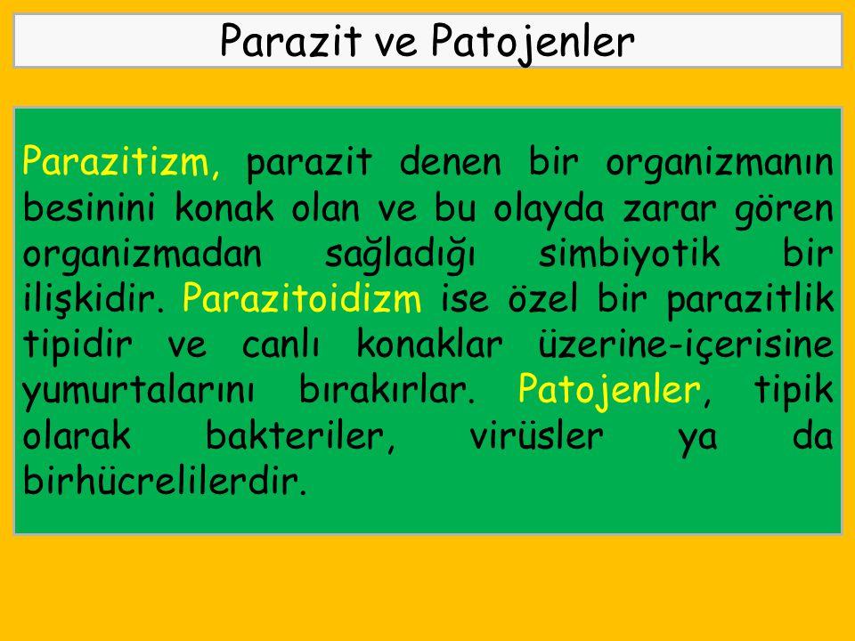 Parazit ve Patojenler Parazitizm, parazit denen bir organizmanın besinini konak olan ve bu olayda zarar gören organizmadan sağladığı simbiyotik bir il