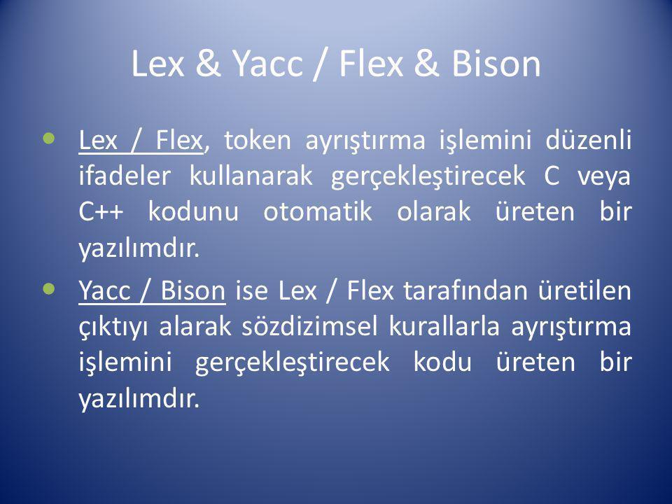 Lex & Yacc / Flex & Bison Lex / Flex, token ayrıştırma işlemini düzenli ifadeler kullanarak gerçekleştirecek C veya C++ kodunu otomatik olarak üreten
