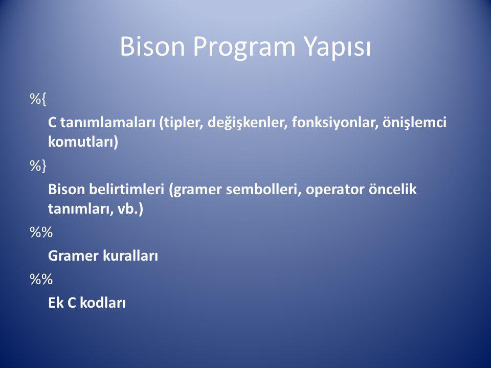 Bison Program Yapısı %{ C tanımlamaları (tipler, değişkenler, fonksiyonlar, önişlemci komutları) %} Bison belirtimleri (gramer sembolleri, operator ön