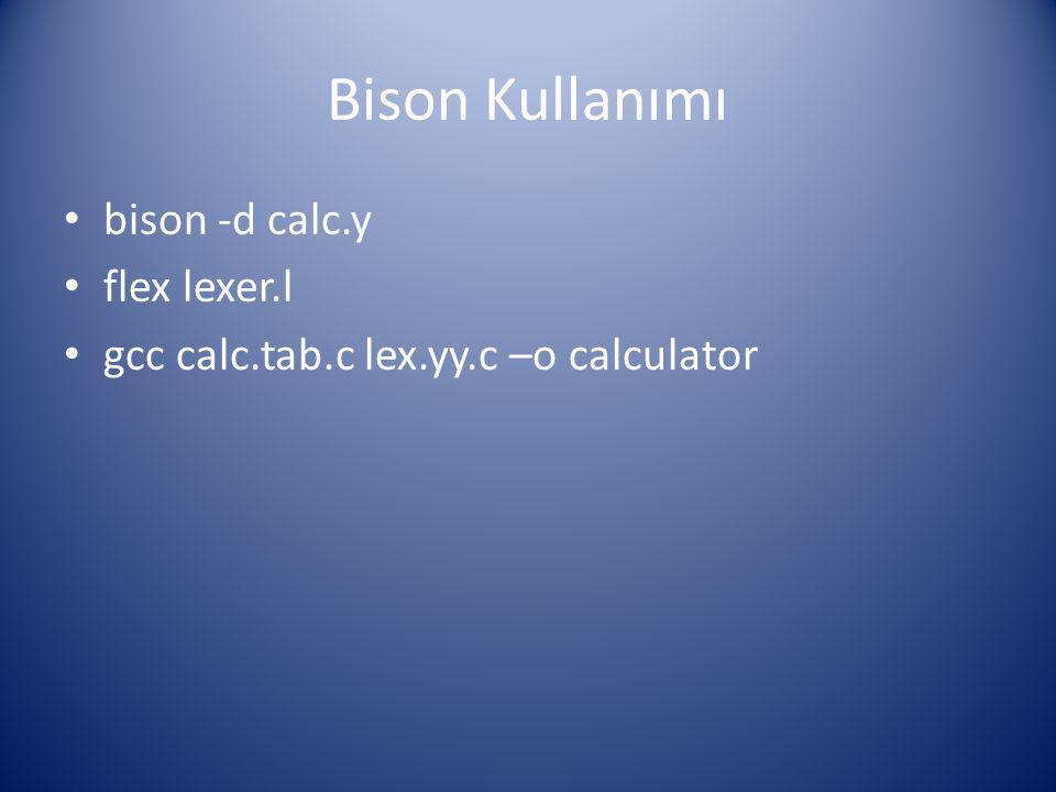 Bison Kullanımı bison -d calc.y flex lexer.l gcc calc.tab.c lex.yy.c –o calculator