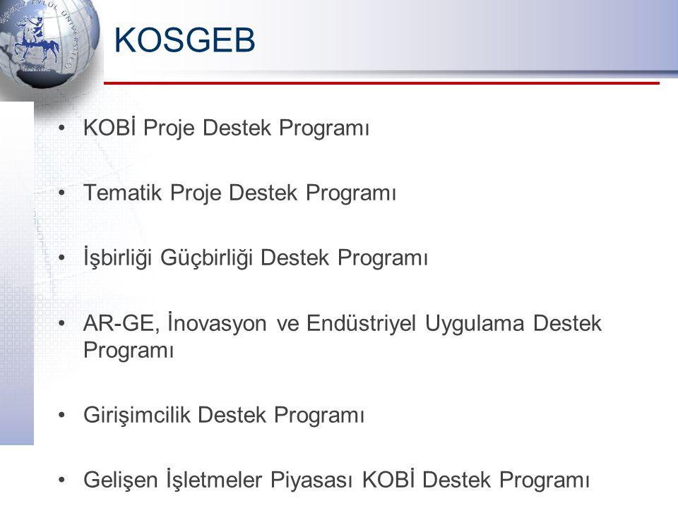 KOSGEB KOBİ Proje Destek Programı Tematik Proje Destek Programı İşbirliği Güçbirliği Destek Programı AR-GE, İnovasyon ve Endüstriyel Uygulama Destek P