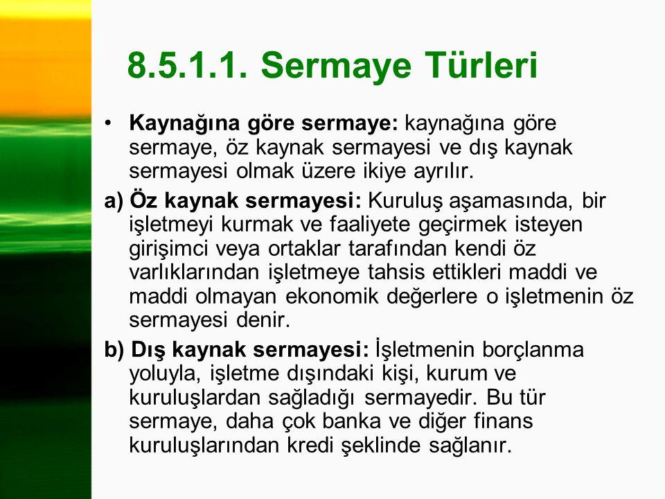 8.5.1.1. Sermaye Türleri Kaynağına göre sermaye: kaynağına göre sermaye, öz kaynak sermayesi ve dış kaynak sermayesi olmak üzere ikiye ayrılır. a) Öz