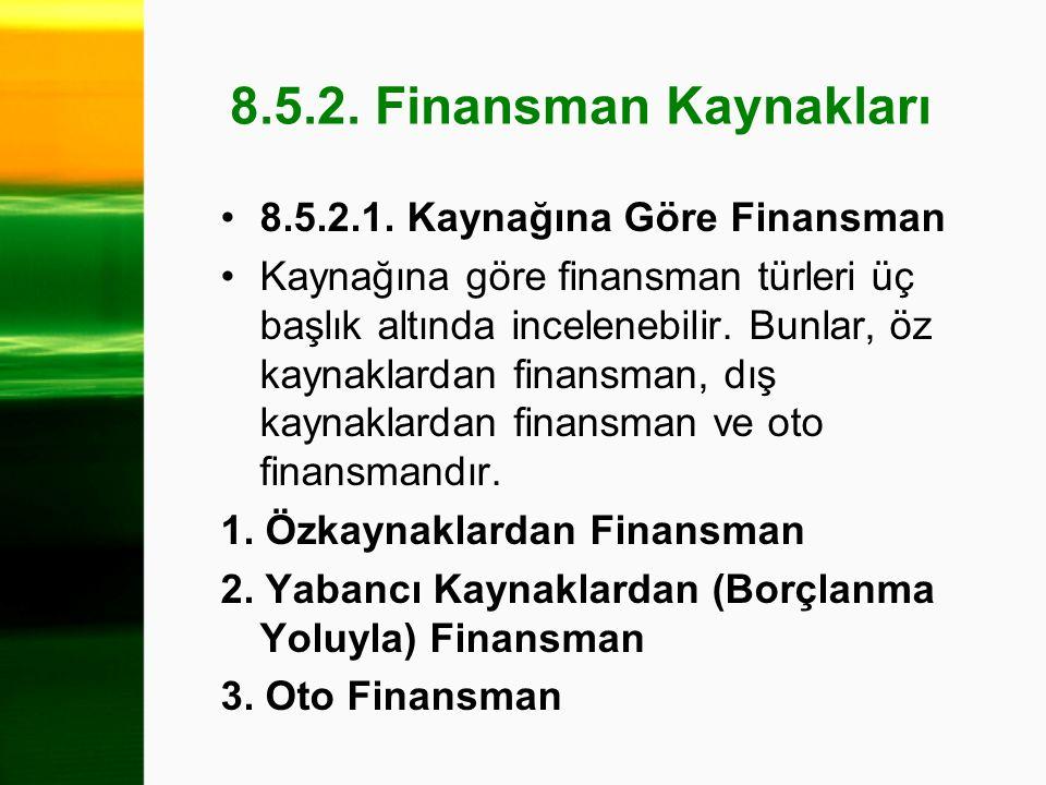 8.5.2. Finansman Kaynakları 8.5.2.1. Kaynağına Göre Finansman Kaynağına göre finansman türleri üç başlık altında incelenebilir. Bunlar, öz kaynaklarda