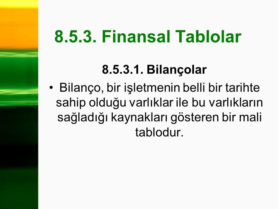 8.5.3. Finansal Tablolar 8.5.3.1. Bilançolar Bilanço, bir işletmenin belli bir tarihte sahip olduğu varlıklar ile bu varlıkların sağladığı kaynakları