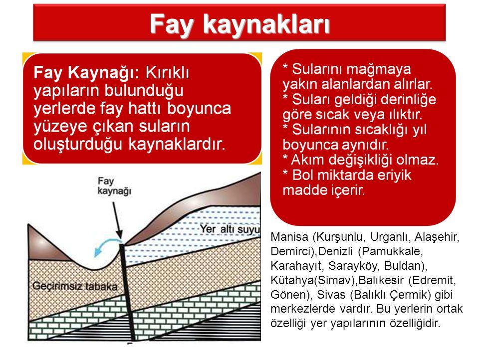 Fay kaynakları Manisa (Kurşunlu, Urganlı, Alaşehir, Demirci),Denizli (Pamukkale, Karahayıt, Sarayköy, Buldan), Kütahya(Simav),Balıkesir (Edremit, Göne