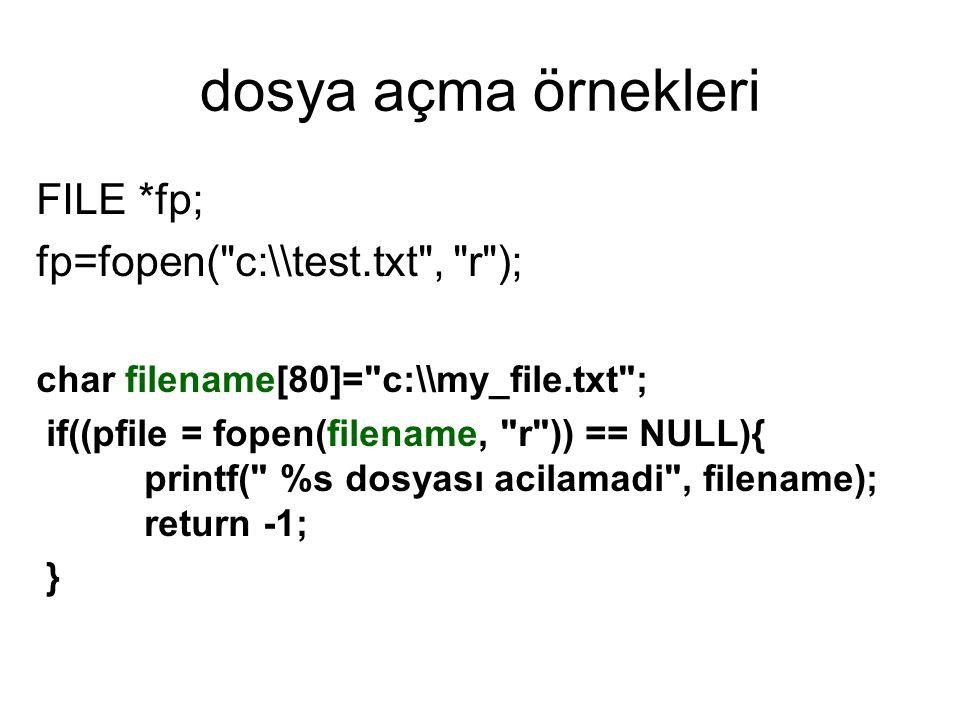dosya açma örnekleri FILE *fp; fp=fopen( c:\\test.txt , r ); char filename[80]= c:\\my_file.txt ; if((pfile = fopen(filename, r )) == NULL){ printf( %s dosyası acilamadi , filename); return -1; }