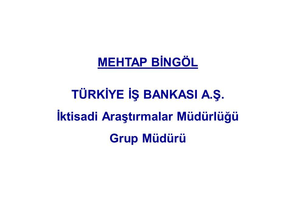 MEHTAP BİNGÖL TÜRKİYE İŞ BANKASI A.Ş. İktisadi Araştırmalar Müdürlüğü Grup Müdürü