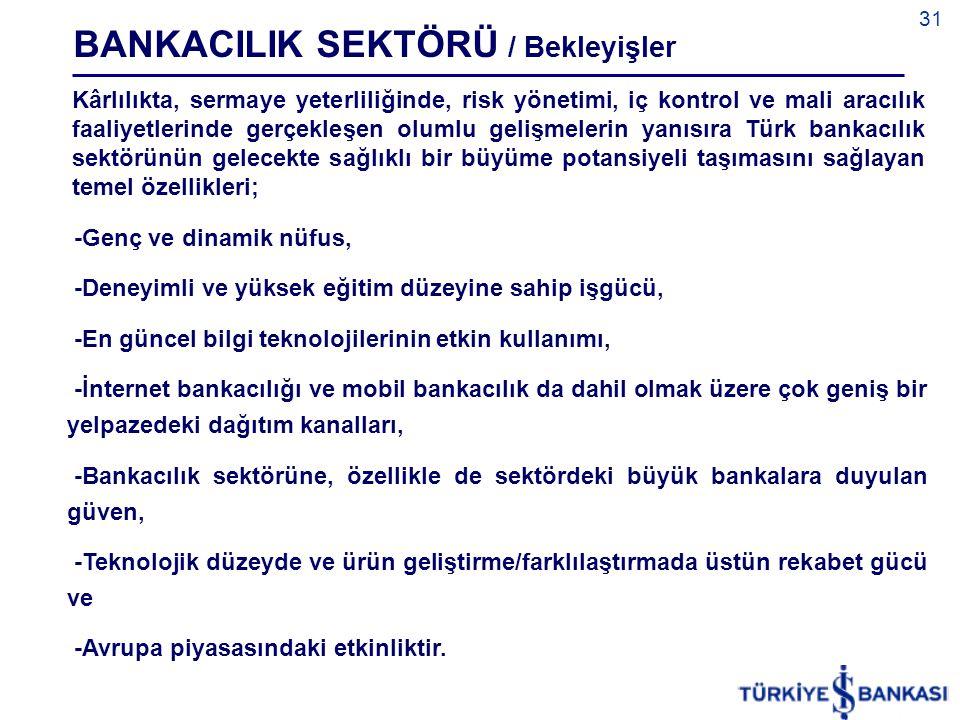 31 Kârlılıkta, sermaye yeterliliğinde, risk yönetimi, iç kontrol ve mali aracılık faaliyetlerinde gerçekleşen olumlu gelişmelerin yanısıra Türk bankac