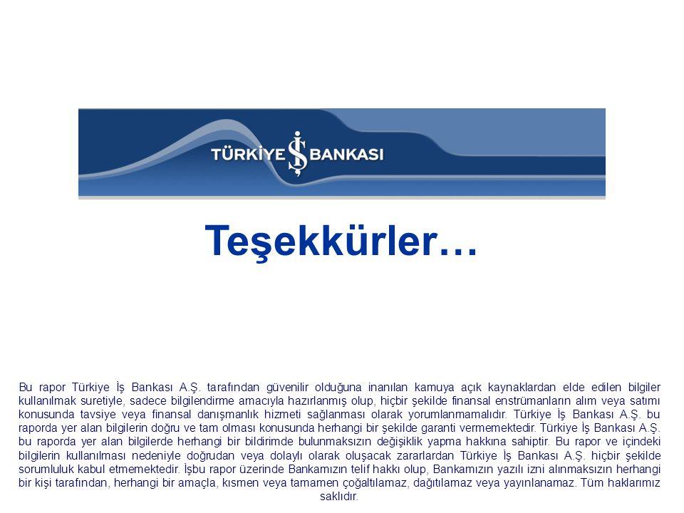 Teşekkürler… Bu rapor Türkiye İş Bankası A.Ş. tarafından güvenilir olduğuna inanılan kamuya açık kaynaklardan elde edilen bilgiler kullanılmak suretiy