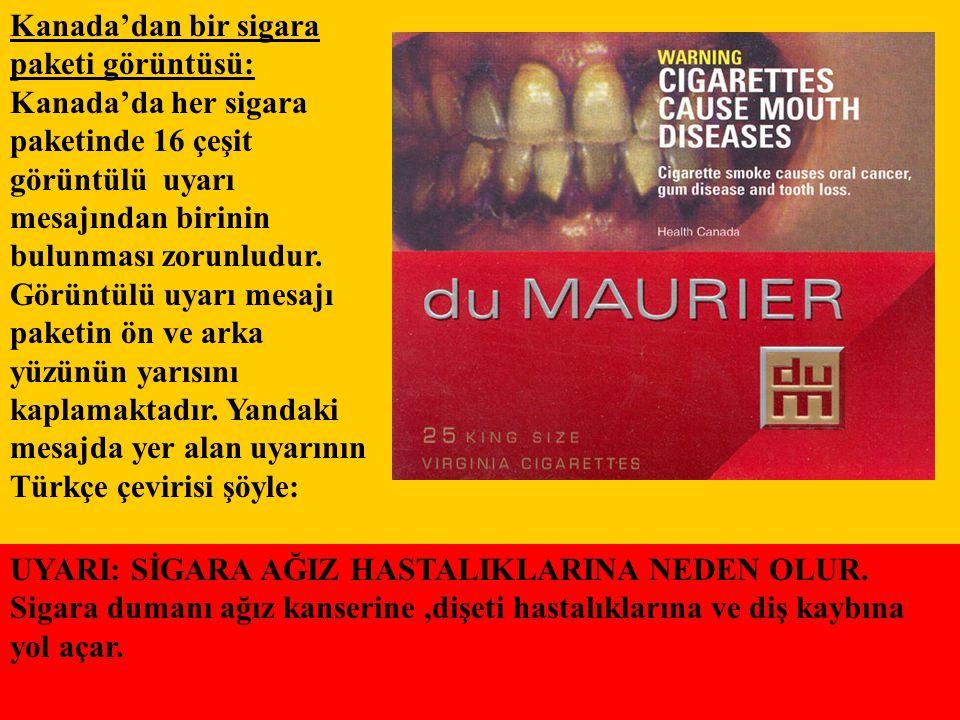 Kanada'dan bir sigara paketi görüntüsü: Kanada'da her sigara paketinde 16 çeşit görüntülü uyarı mesajından birinin bulunması zorunludur. Görüntülü uya