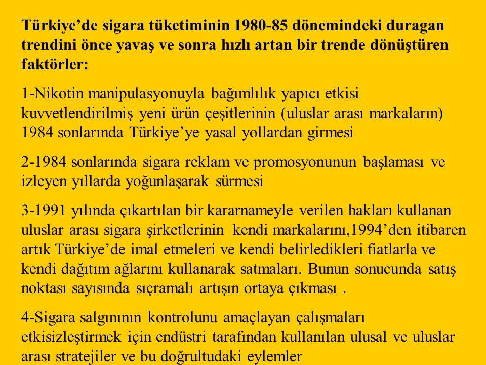 Türkiye'de sigara tüketiminin 1980-85 dönemindeki duragan trendini önce yavaş ve sonra hızlı artan bir trende dönüştüren faktörler: 1-Nikotin manipula