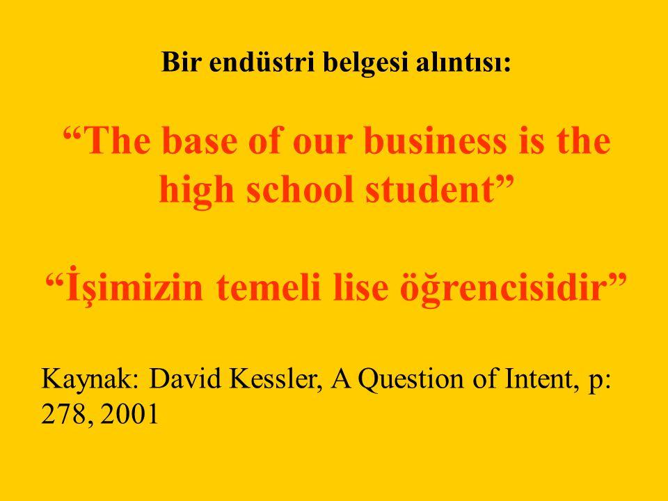 """Bir endüstri belgesi alıntısı: """"The base of our business is the high school student"""" """"İşimizin temeli lise öğrencisidir"""" Kaynak: David Kessler, A Ques"""