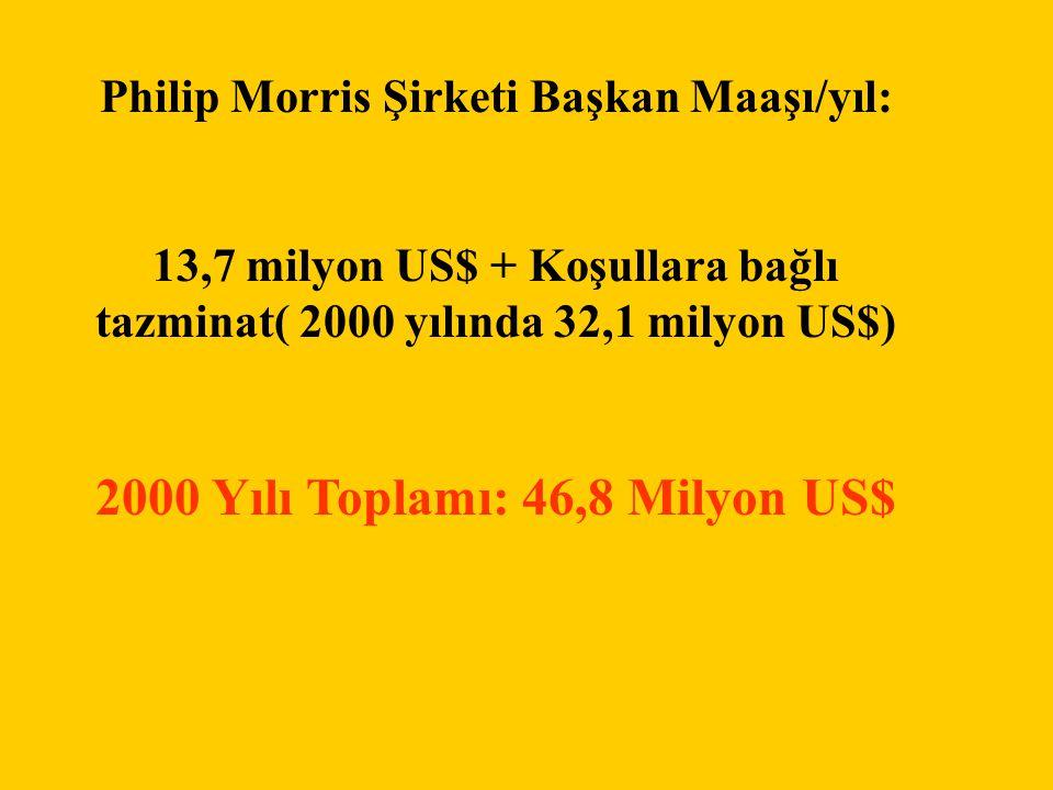 Philip Morris Şirketi Başkan Maaşı/yıl: 13,7 milyon US$ + Koşullara bağlı tazminat( 2000 yılında 32,1 milyon US$) 2000 Yılı Toplamı: 46,8 Milyon US$