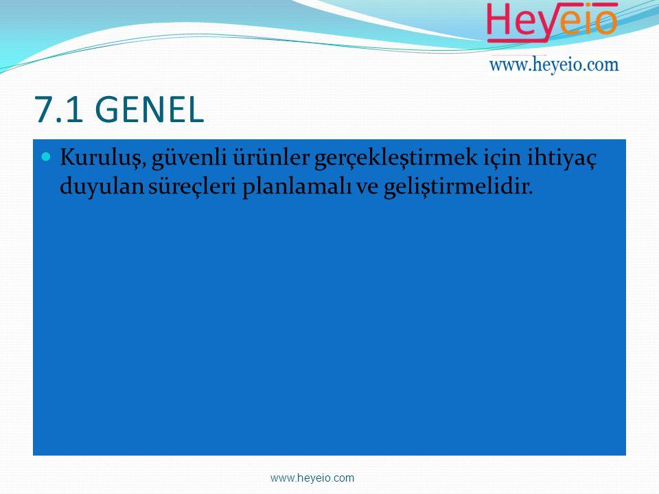 7.1 GENEL Kuruluş, güvenli ürünler gerçekleştirmek için ihtiyaç duyulan süreçleri planlamalı ve geliştirmelidir. www.heyeio.com
