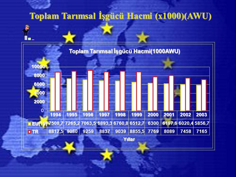 Toplam Tarımsal İşgücü Hacmi (x1000)(AWU) Toplam Tarımsal İşgücü Hacmi(1000AWU) 0 2000 4000 6000 8000 10000 Yıllar EU(15) 7508,77265,27063,56893,36760