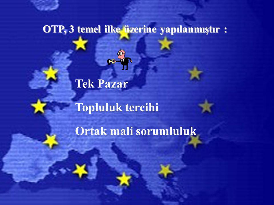 OTP, 3 temel ilke üzerine yapılanmıştır: OTP, 3 temel ilke üzerine yapılanmıştır : Tek Pazar Topluluk tercihi Ortak mali sorumluluk