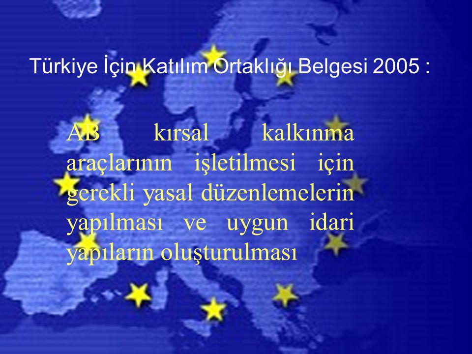 Türkiye İçin Katılım Ortaklığı Belgesi 2005 : AB kırsal kalkınma araçlarının işletilmesi için gerekli yasal düzenlemelerin yapılması ve uygun idari ya
